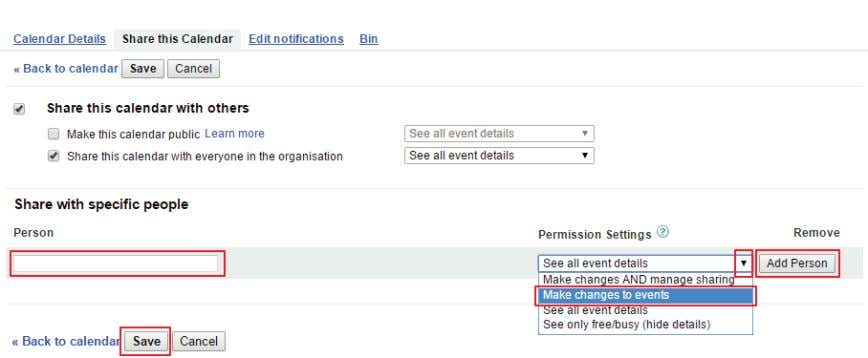 "Person."" Confirm changes with the ""Save"" button. FIGURE 2-40. ADD PERSON TO SHARE CALENDAR 14. Tap"