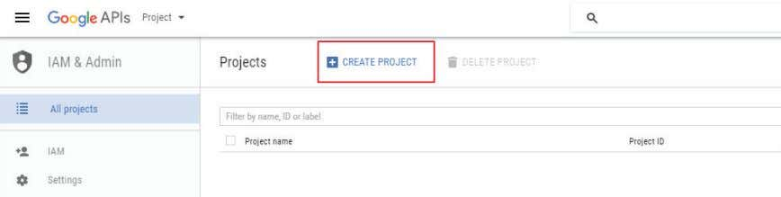 "in to your Google Apps for Work administrator account. 2. Tap on ""CREATE PROJECT."" FIGURE 2-1."