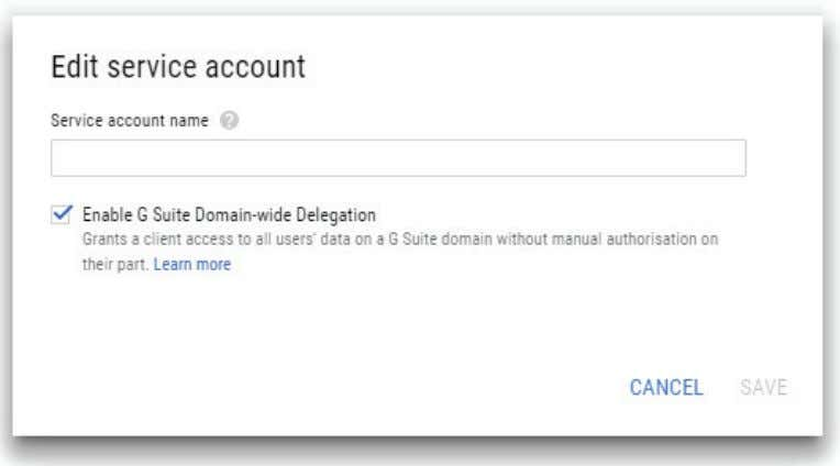 "Google Apps Domain-wide Delegation"" and confirm it by tapping ""Save."" FIGURE 2-12. EDIT SERVICE ACCOUNT SCREEN"