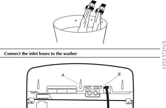 Connect the inlet hoses to the washer A B HOT COLD