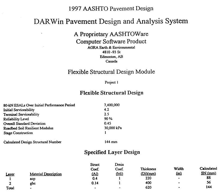 Design Manual Section 8 New Construction - Page 75 TABLE 8.7 DARWin 3.0 OUTPUT FOR RECOMMENDED