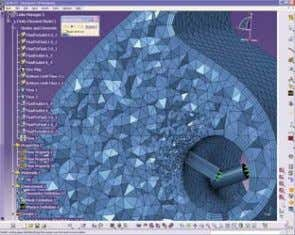 Remote submission of solution on LINUX ® /Windows ® The hybrid mesh on an airplane anti-icing
