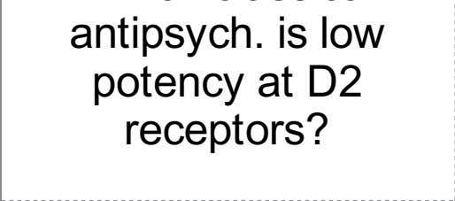 Which classical antipsych. is low potency at D2 receptors?
