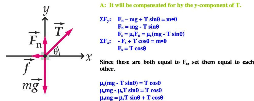 A: It will be compensated for by the y-component of T. ΣΣΣΣF : y ΣΣΣΣF