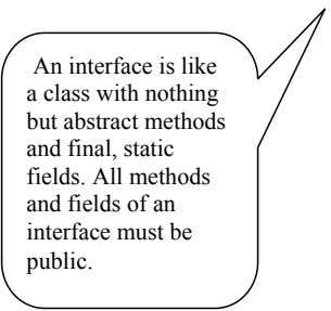 An interface is like a class with nothing but abstract methods and final, static fields.