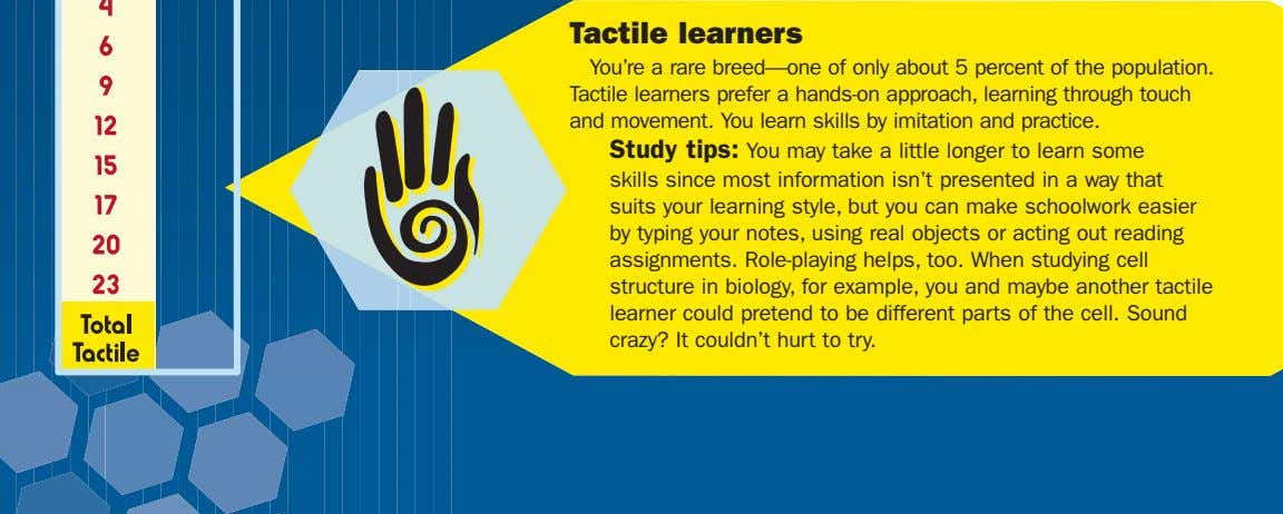 Tactile learners You're a rare breed—one of only about 5 percent of the population. Tactile learners