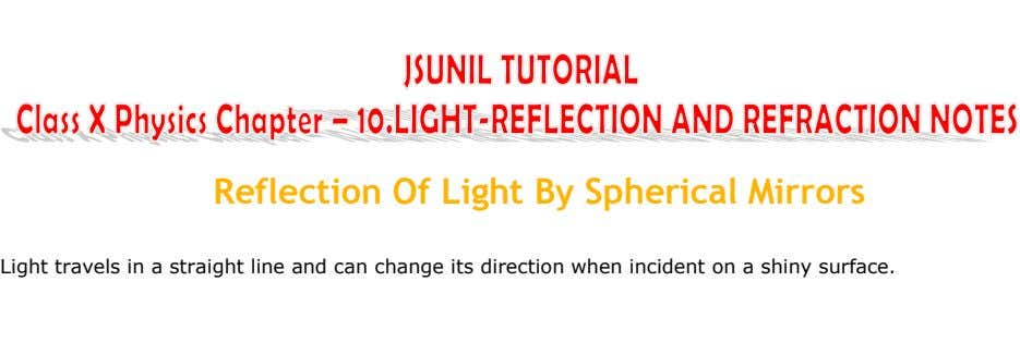 Reflection Of Light By Spherical Mirrors Light travels in a straight line and can change