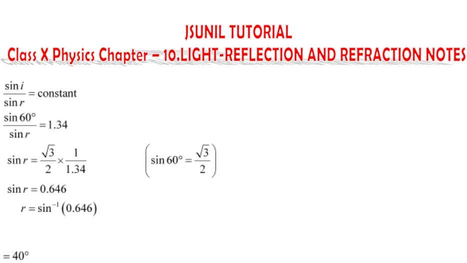 Hence, the angle of refraction is approx. 40°. Refraction Of Light By Spherical Lenses (Concave