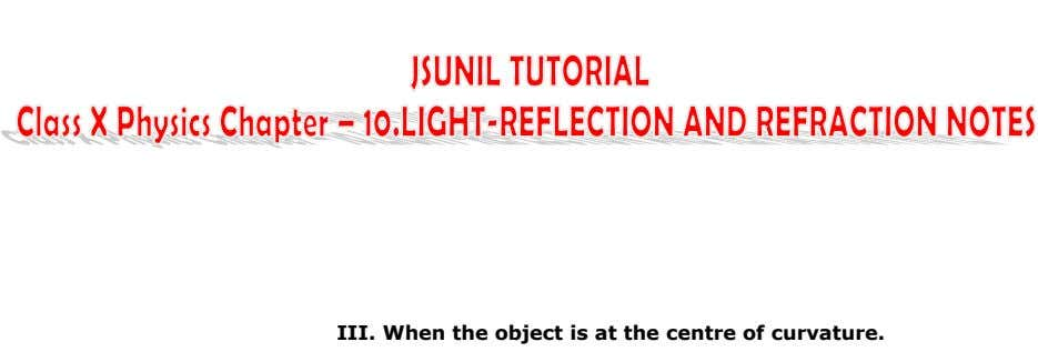 III. When the object is at the centre of curvature.