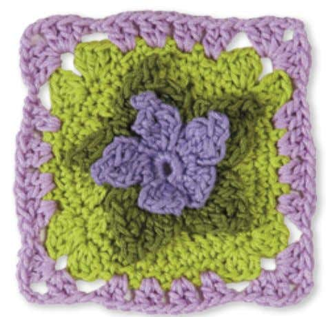 20 9 8 7 6 5 4 3 2 1 Granny Square flowerS February violet
