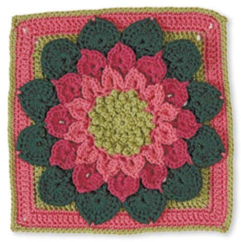 larGe daHlia witH leaveS designed by Joyce Lewis Skill level: experienced Made with 4 colors: