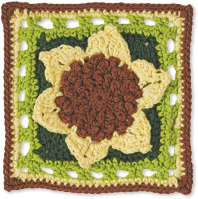 44 Granny Square flowerS SunFlower Skill level: experienced Made with 4 colors: A, B, C