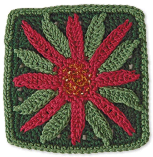 50 Granny Square flowerS poinSettia Skill level: intermediate Made with 3 colors: A, B, and