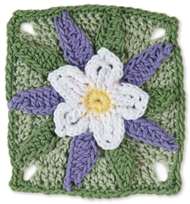 52 Granny Square flowerS Columbine Skill level: Intermediate Made with 4 colors: A, B, C,