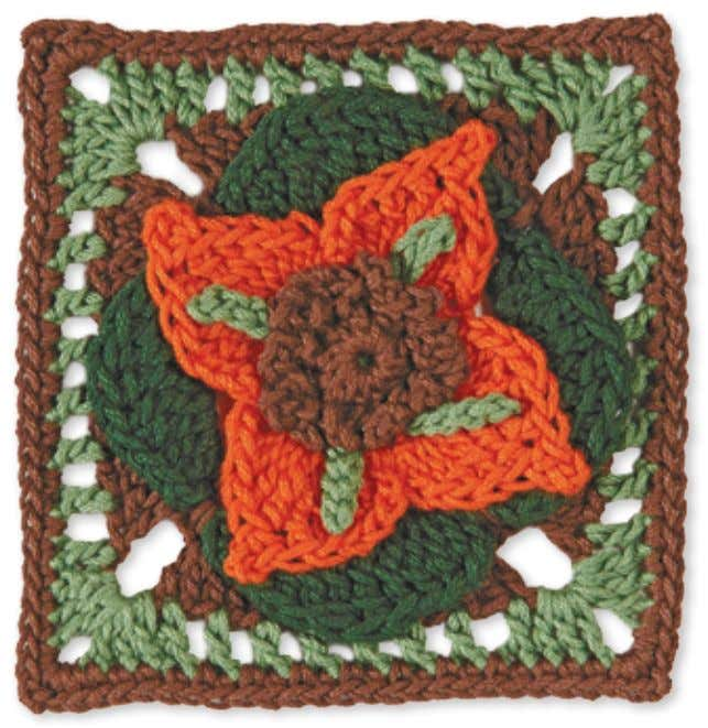 56 Granny Square flowerS Japanese lanterns Skill level: Intermediate Made with 4 colors: A, B,