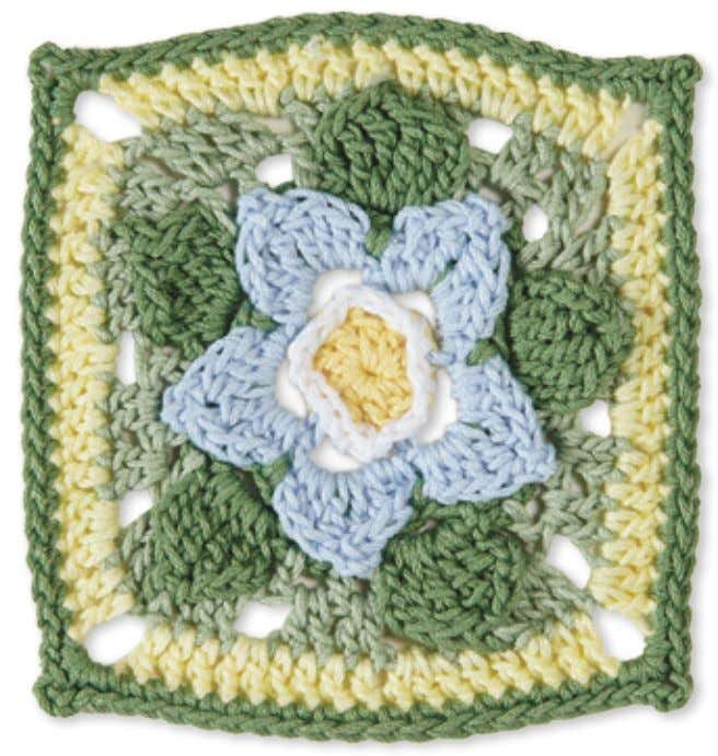 60 Granny Square flowerS forget-me-not Skill level: Intermediate Made with 5 colors: A, B, C,