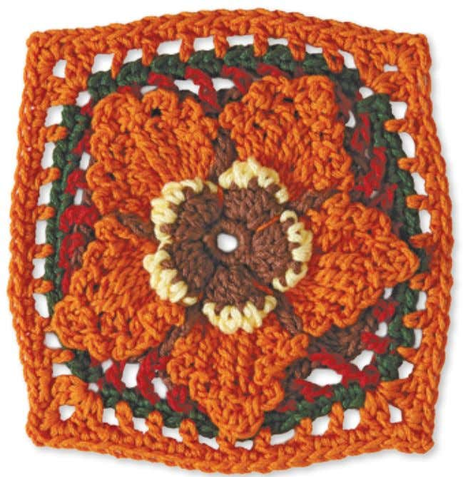70 Granny Square flowerS oak leaves and aCorns Skill level: Intermediate Made with 5 colors: