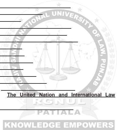 The United Nation and International Law,