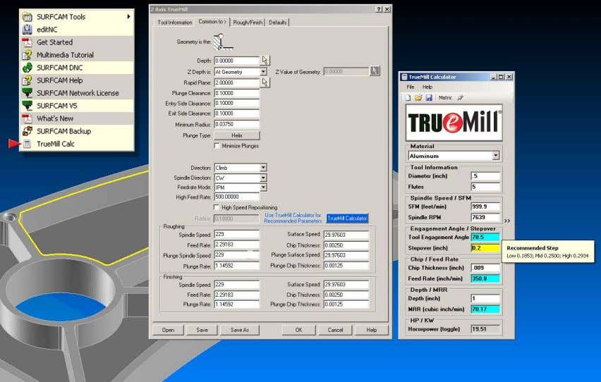 f. Recommended parameters for TrueMill Certified Tools Define optimal cutting parameters to achieve highest