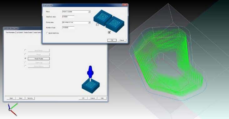 axis toolpath into a 4-5 axis morph pocket cutting strategy. Morph pocket created from a 4-5