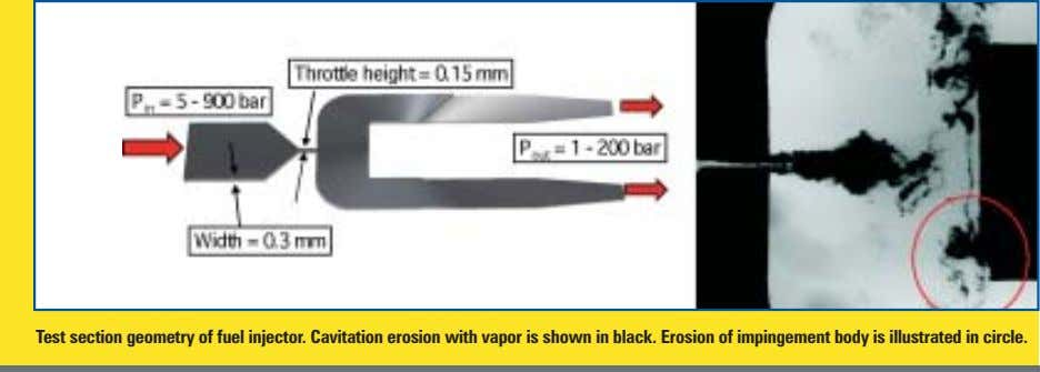 Test section geometry of fuel injector. Cavitation erosion with vapor is shown in black. Erosion