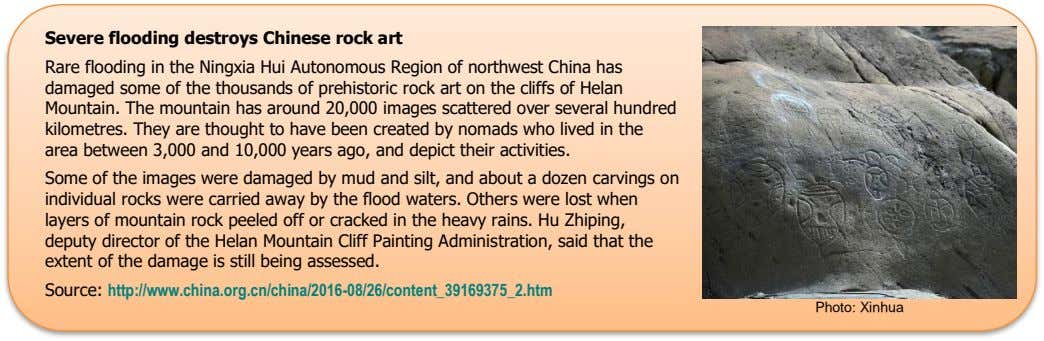 Severe flooding destroys Chinese rock art Rare flooding in the Ningxia Hui Autonomous Region of