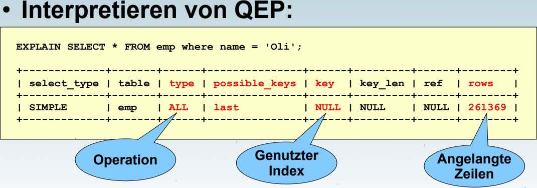 ● Interpretieren von QEP: EXPLAIN SELECT * FROM emp where name = 'Oli';