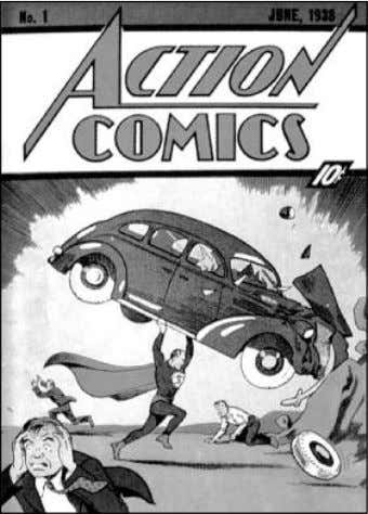 hoisting an automobile over his head, as bystanders fled in Action Comics #1 (1938) introduced the