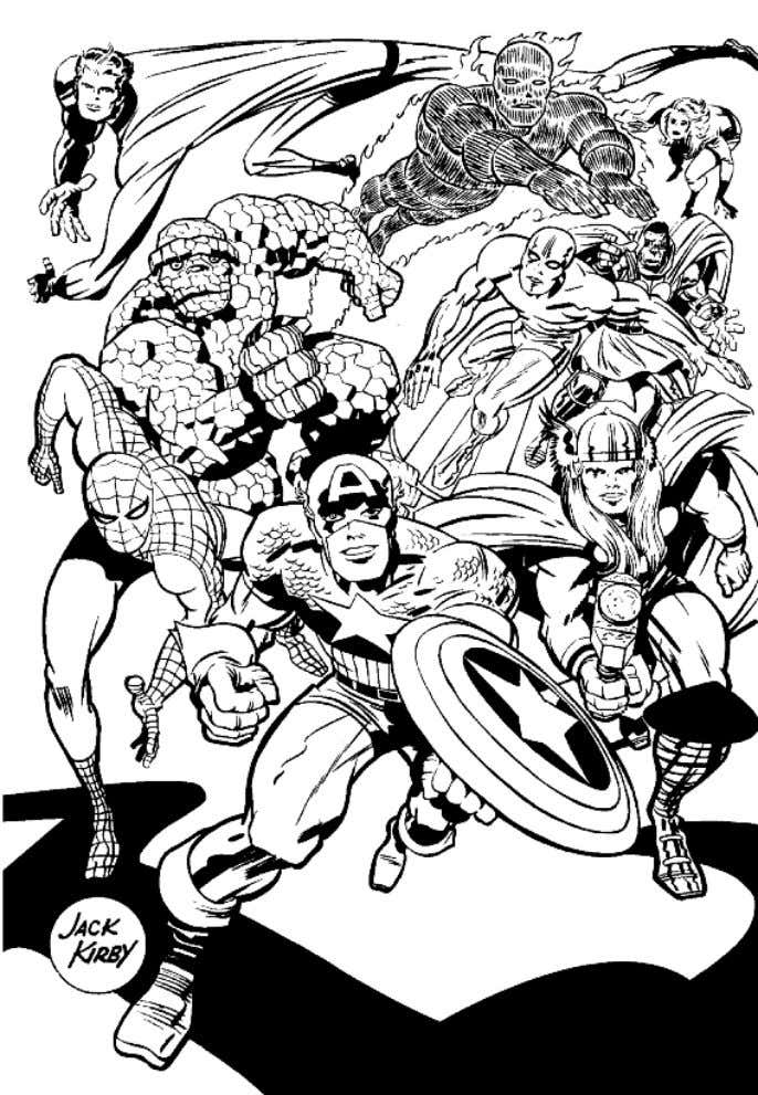 A 1960s drawing by Kirby, depicting many of the Marvel Comics characters that he co-created