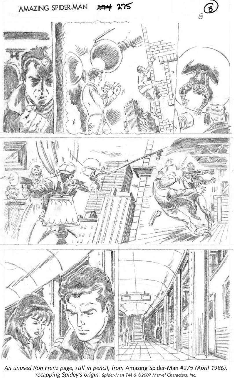 An unused Ron Frenz page, still in pencil, from Amazing Spider-Man #275 (April 1986), recapping