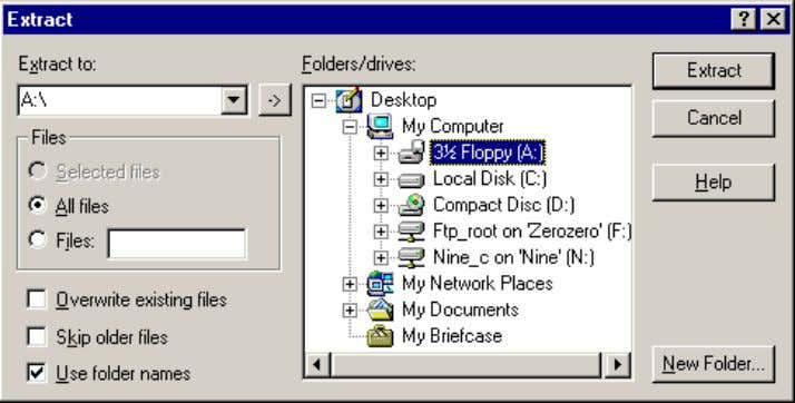 9 SpecView User Manual Select the Floppy (A:) and click Extract . The numbered ZIP files
