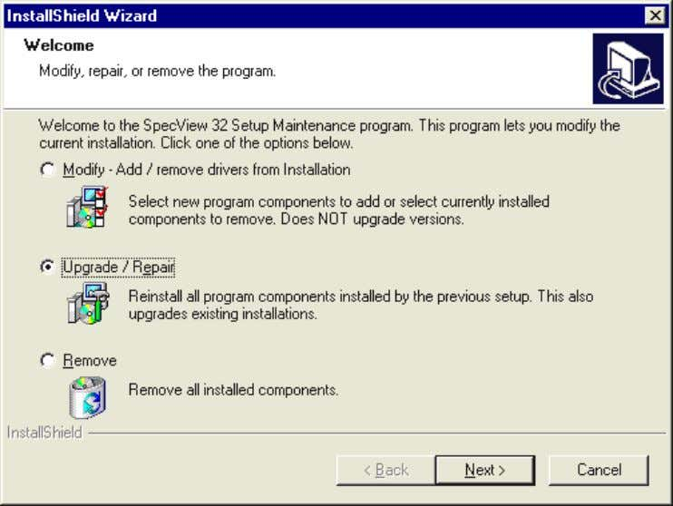 Installation 10 However, upgrading to Spec V iew 32 from the older 16-bit version (called: Spec