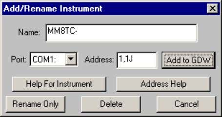 name of the instrument in the list then click Add to GDW This is now configured