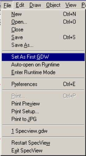 use the Set As First GDW menu command from the File menu while in Configuration Mode.