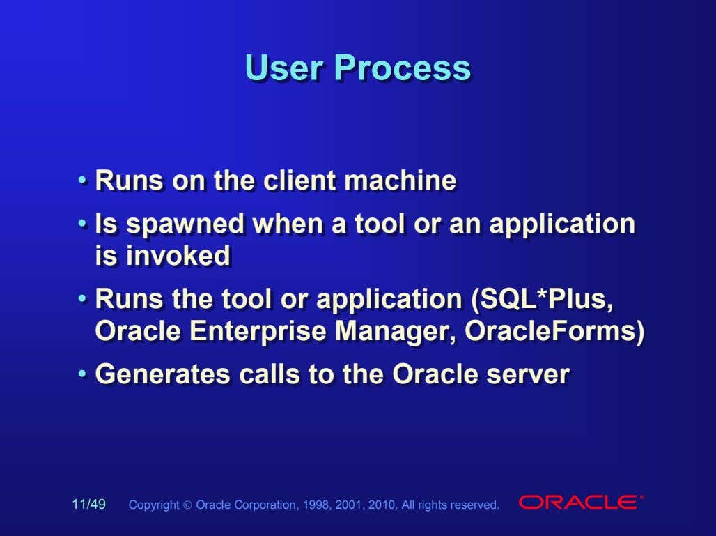 UserUser ProcessProcess • • Runs Runs on on the the client client machine machine •