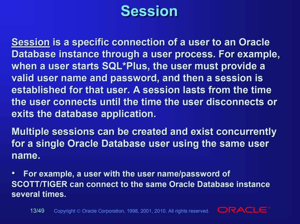 SessionSession SessionSession isis aa specificspecific connectionconnection ofof aa useruser toto anan OracleOracle