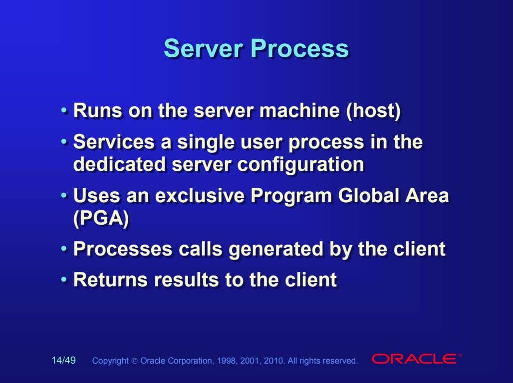 ServerServer ProcessProcess • • Runs Runs on on the the server server machine machine (host)