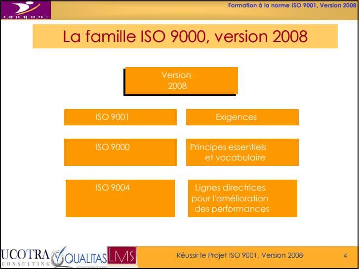 Formation à la norme ISO 9001, Version 2008 LaLa famillefamille ISOISO 9000,9000, versionversion 20082008 Version