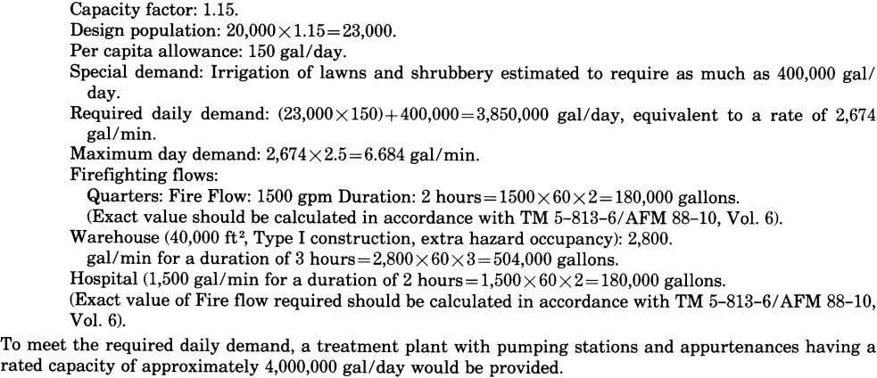 g. Water main sizes. The water distribution system will have mains of adequate size to meet