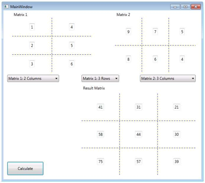 comp leted application running. The user has multiplied a 2×3 matrix with a 3×2 matrix, and