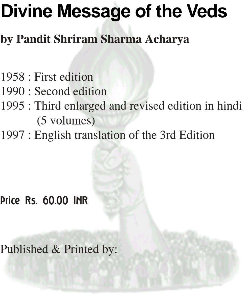 Divine Message of the Veds by Pandit Shriram Sharma Acharya 1958 : First edition 1990