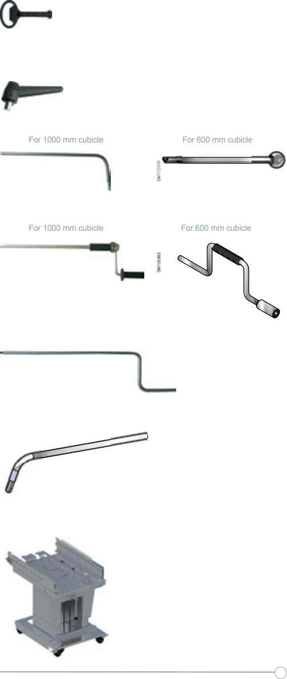 Installation Accessories and extraction withdrawable parts For 1000 mm cubicle For 600 mm cubicle For 1000