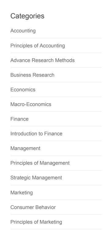 Categories Accounting Principles of Accounting Advance Research Methods Business Research Economics Macro-Economics