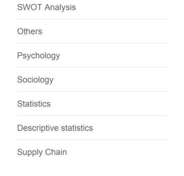 SWOT Analysis Others Psychology Sociology Statistics Descriptive statistics Supply Chain