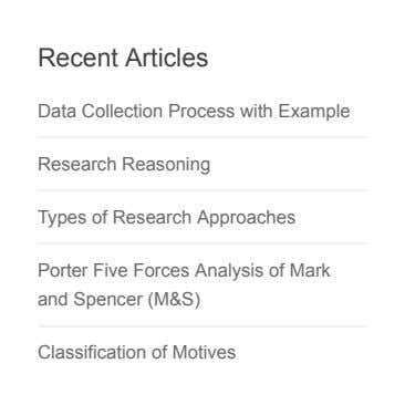 Recent Articles Data Collection Process with Example Research Reasoning Types of Research Approaches Porter Five