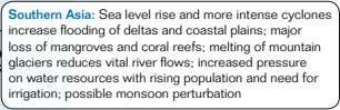 Southern Asia: Sea level rise and more intense cyclones increase flooding of deltas and coastal
