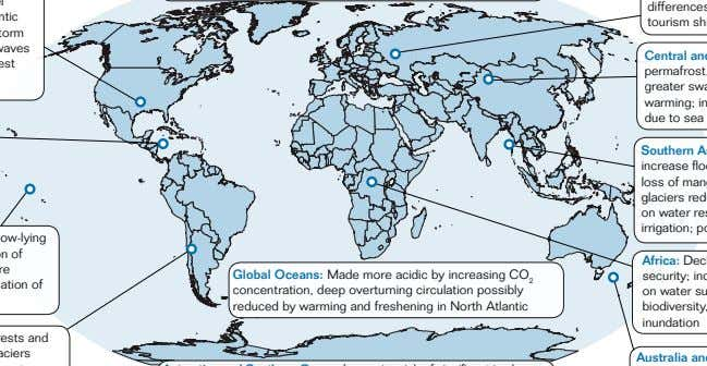 Global Oceans: Made more acidic by increasing CO 2 concentration, deep overturning circulation possibly reduced