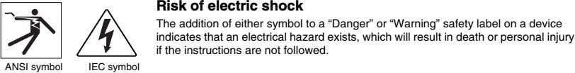 "Risk of electric shock The addition of either symbol to a ""Danger"" or ""Warning"" safety"