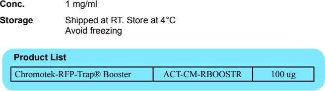 Conc. 1 mg/ml Storage Shipped at RT. Store at 4°C Avoid freezing Product List Chromotek-RFP-Trap®