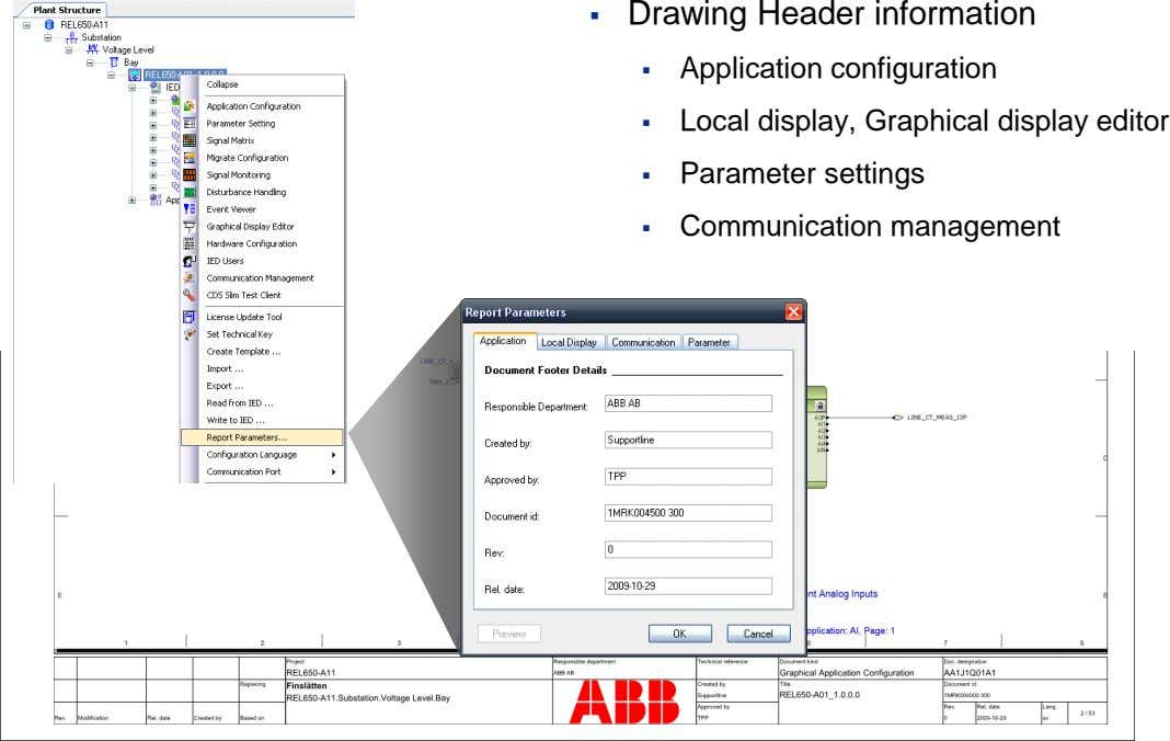  Drawing Header information  Application configuration  Local display, Graphical display editor 